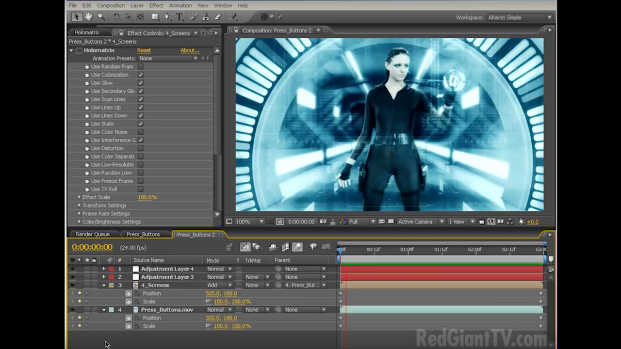 Tutorial: Red Giant: Holomatrix: Creating a Holographic Interface in After Effects