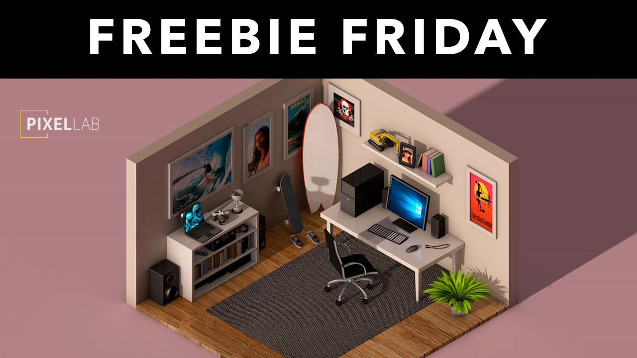 Freebie: Cinema 4D 3D Model: Isometric Office Room from The Pixel Lab