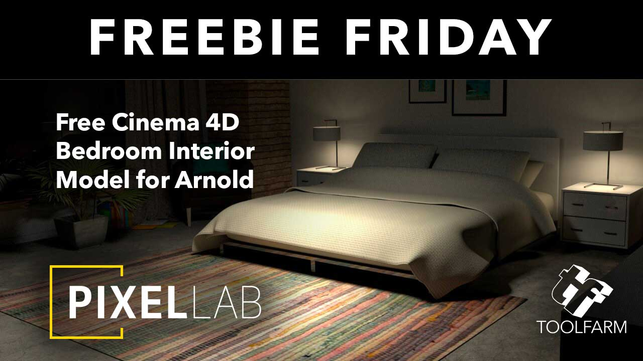 Free: Cinema 11D Bedroom Interior Model for Arnold from The Pixel