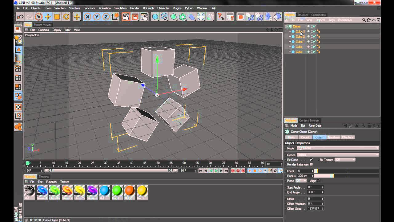 Placing Multiple Materials on a Cloned Object in Cinema 4D