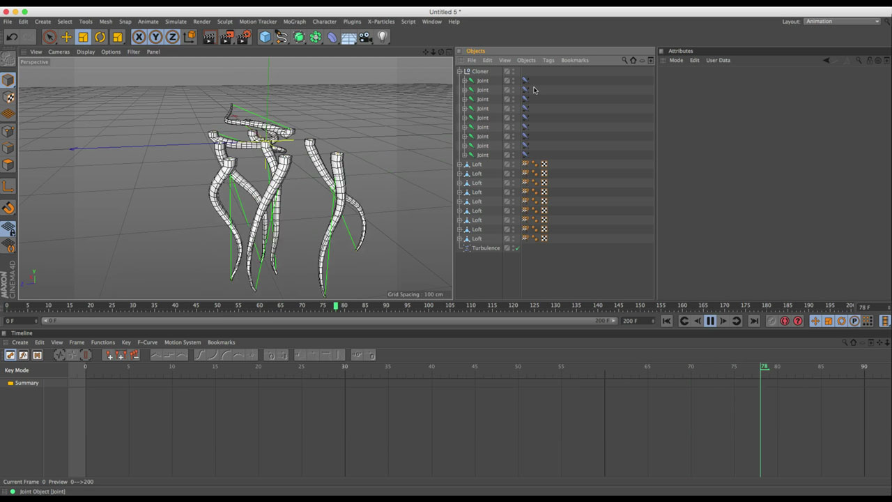 C4D: Using Dynamic IK for Animating a Group of Tentacles