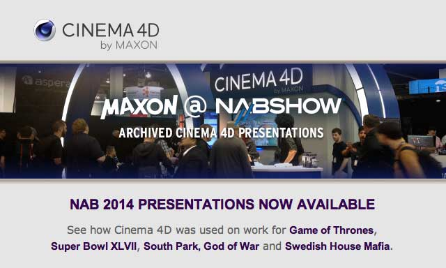 News: MAXON's Archived Presentations from NAB 2014 are Now Online!