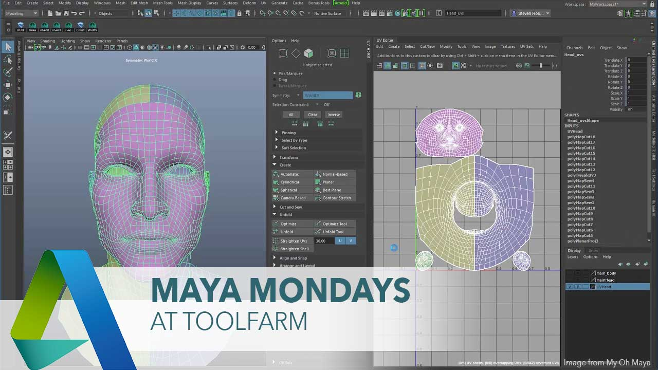 The New UV Editor in Maya 2018 - Toolfarm