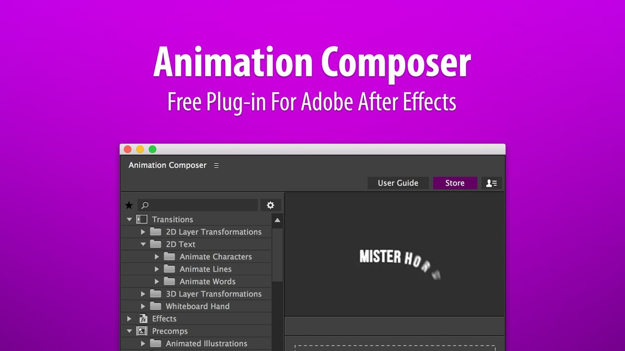 Free: Animation Composer 2 from Mister Horse Workflow Tools for After Effects
