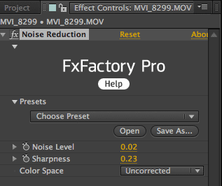 FxFactory Pro Noise Reduction Interface