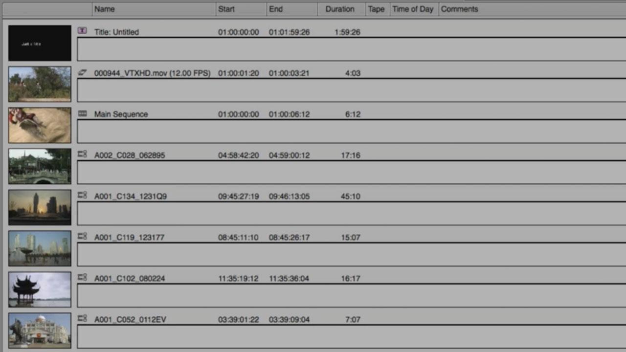 Avid Media Composer Bin Layouts and Displays