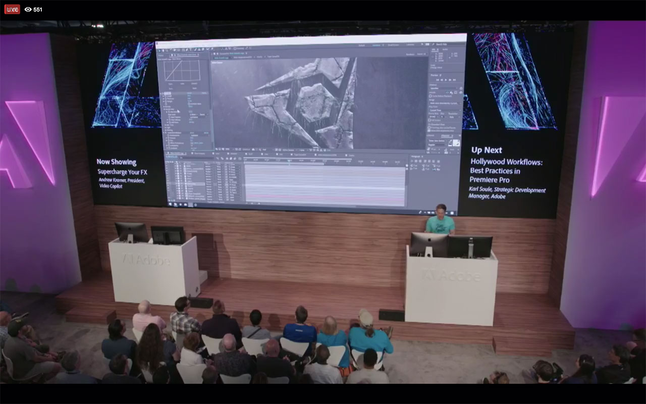 NAB 2018   Andrew Kramer at the Adobe Booth, Adobe Live Stream