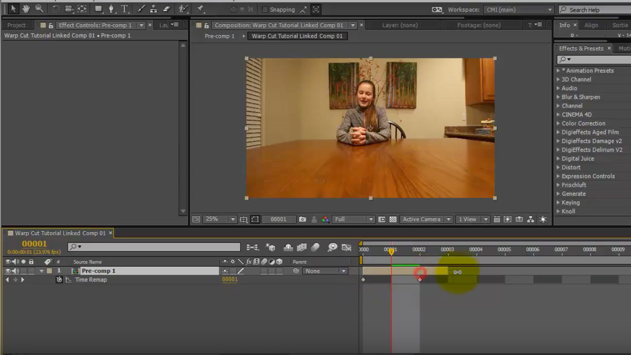 After Effects: Smoothing out Jump Cuts using Timewarp