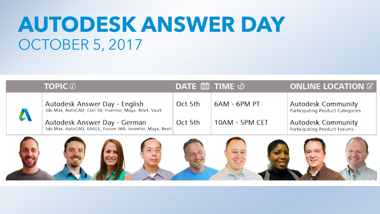 Event: Autodesk Answer Day, October 5, 2017