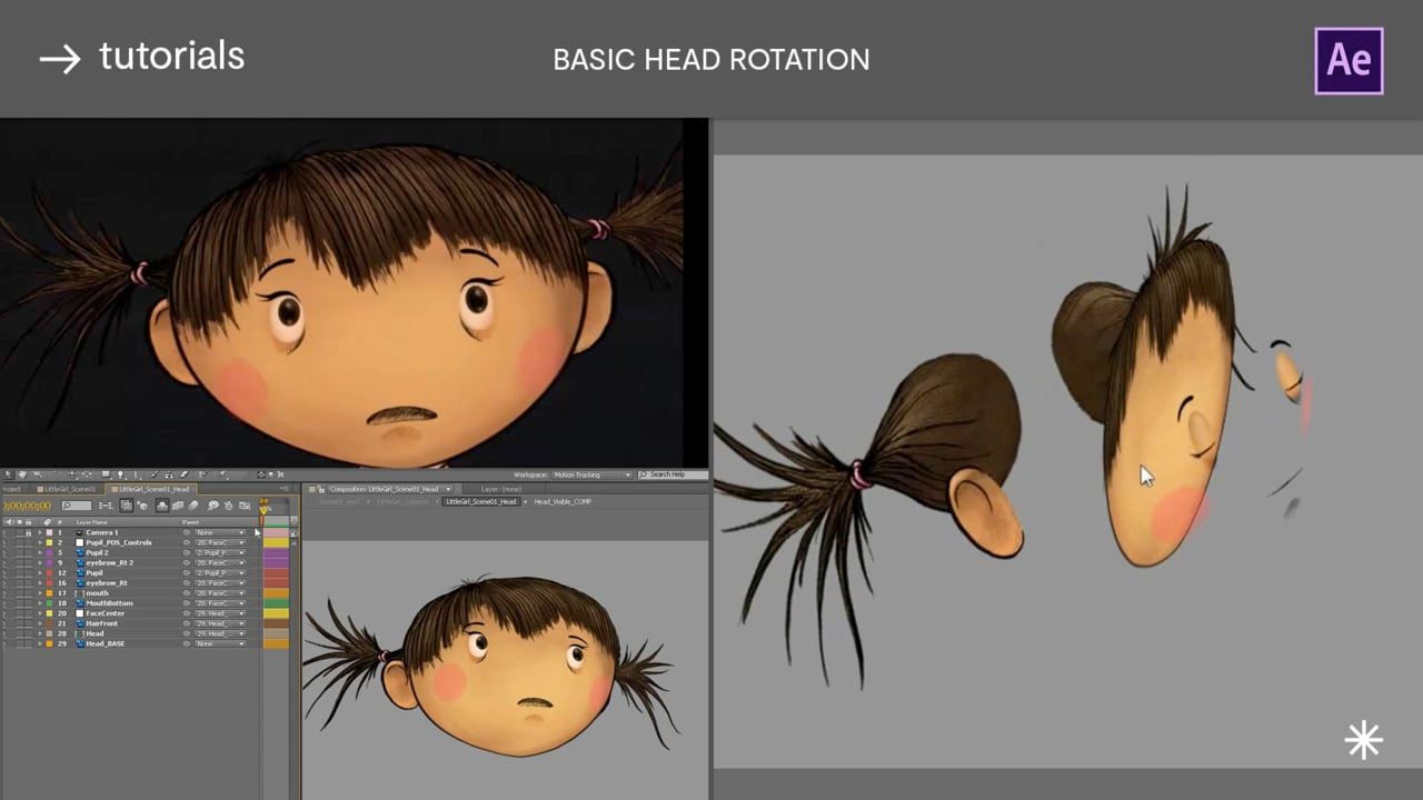Basic Head rotations using 3D Layers, Distortion Mesh & Expressions in After Effects