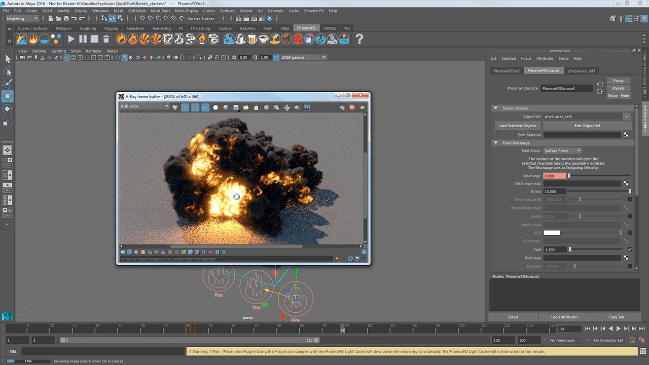 Tutorial: Chaos Group Phoenix FD for Maya – Quick Start: Gasoline Explosion #gettingstarted