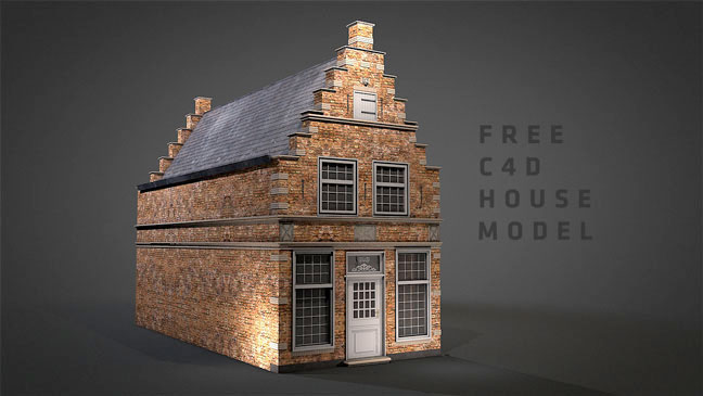 Freebie: Cinema 4D: Brick House Models