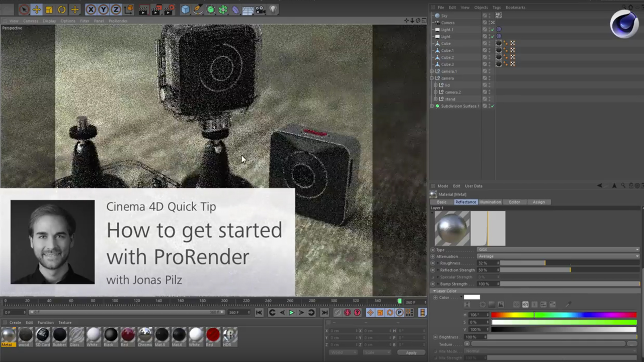 Tutorial: Cinema 4D: Getting Started with ProRender in C4D R19