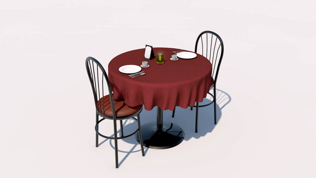 Freebie: Cinema 4D 3D Model: Fancy Restaurant Table