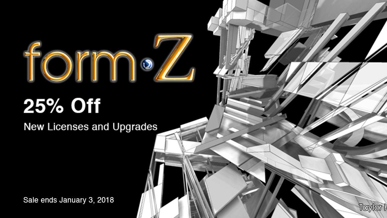 Sale Extended: AutoDesSys form•Z Pro and form•Z Jr. – 25% Off Now through January 3, 2018