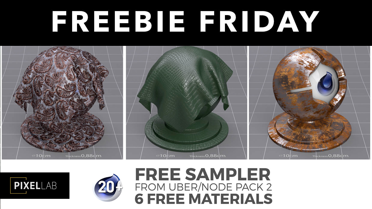 Freebie: Cinema 4D: Uber/Node Material Pack 2 Sampler: 6 Free Materials from The Pixel Lab