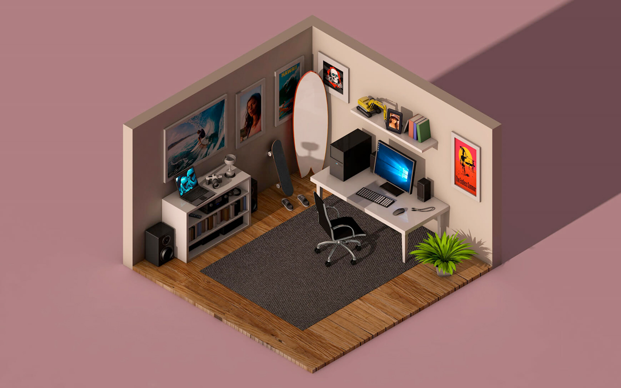 isometric office scene freebie