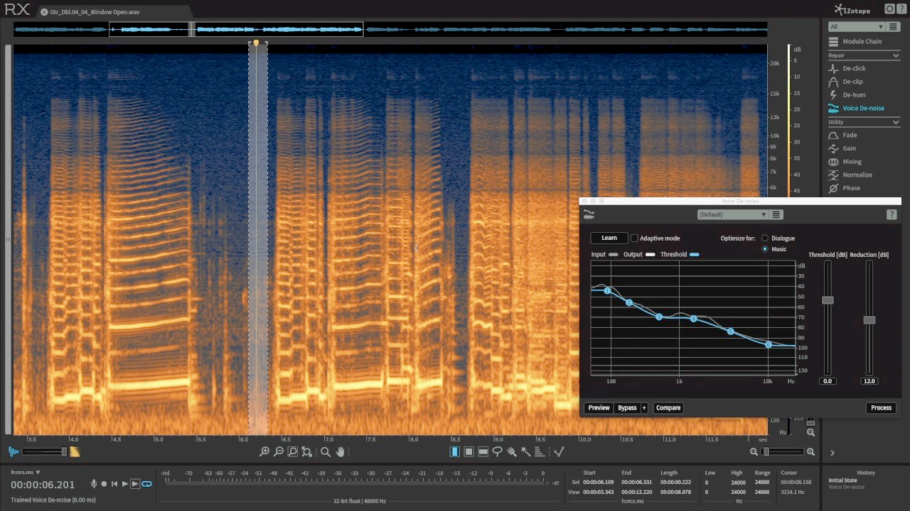 Fix Room Noise on Guitar Recordings with RX Elements