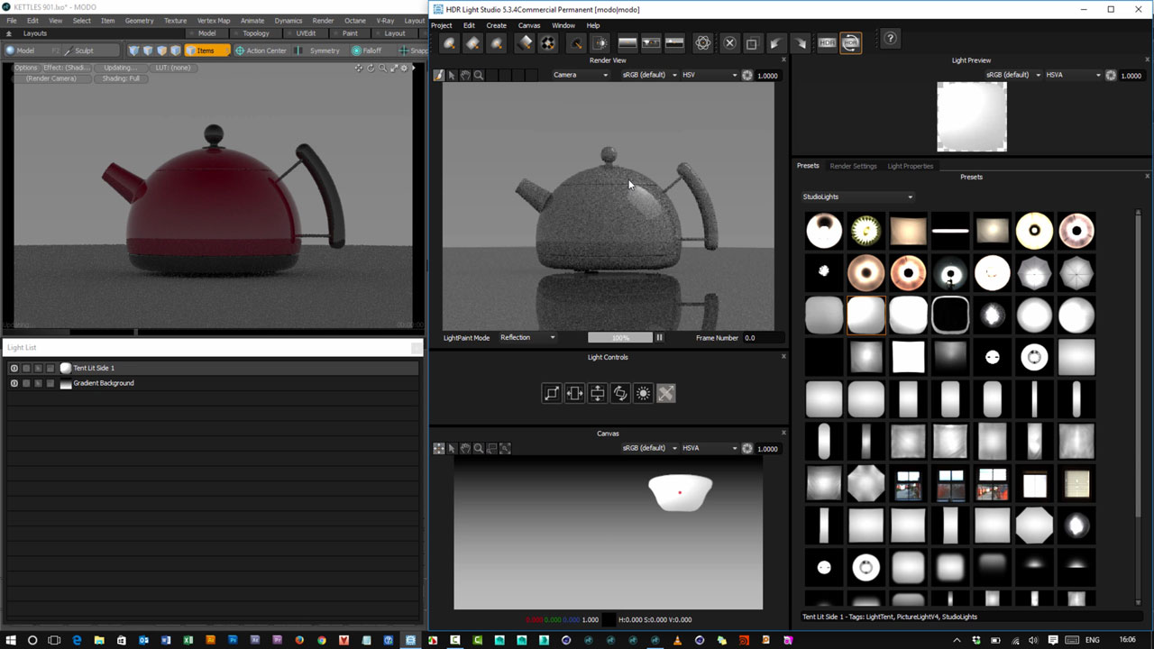 Update: Lightmap HDR Light Studio 5.3.4 adds Area Lights to the MODO Connection