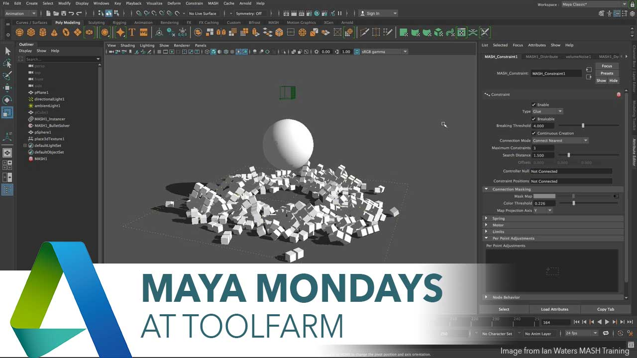 The New MASH Dynamics Node in Maya 2018, Part 2