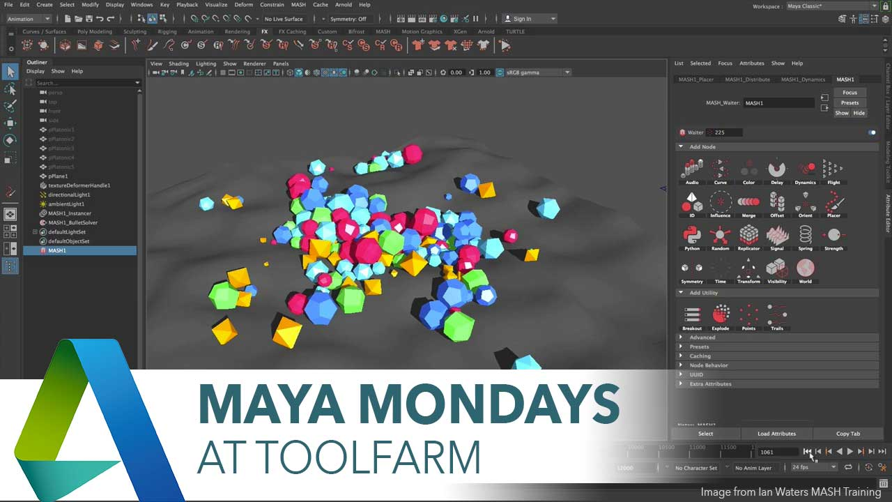 The New MASH Dynamics Node in Maya 2018, Part 3