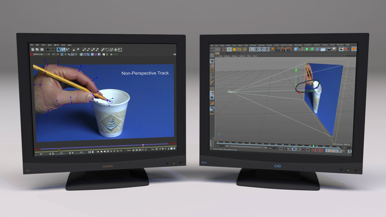 MochaBlend C4D Basics #2: Creating 3D motion from a non-perspective mocha track