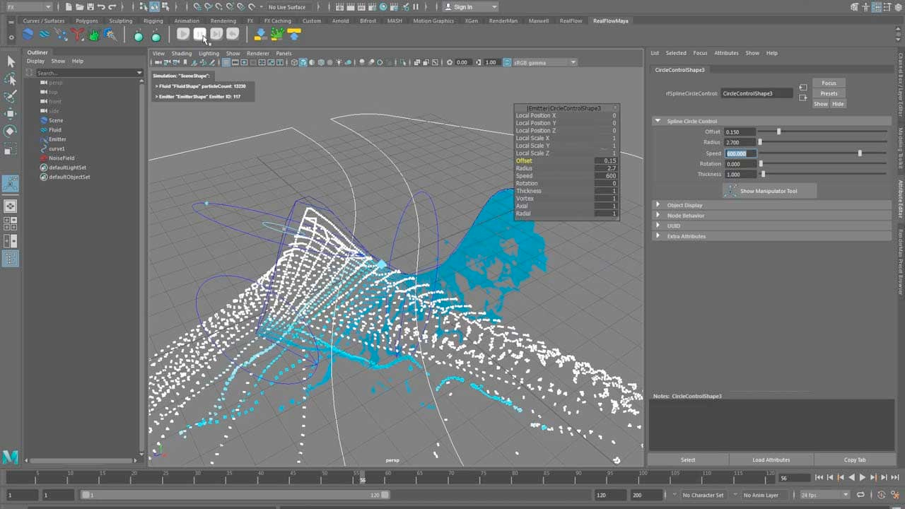 RealFlow | Maya: Working With Spline Emitter