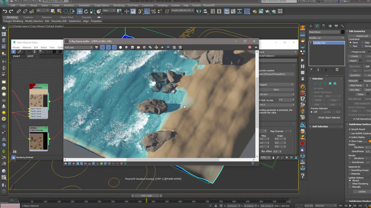 Phoenix FD 3.0 for 3ds Max – Beach wave water simulation