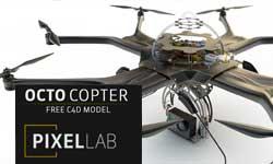 Freebie: Pixel Lab C4D Model: Octocopter