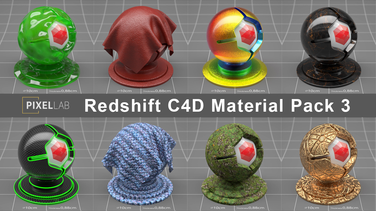 New: The Pixel Lab Redshift Material Pack for C4D 3
