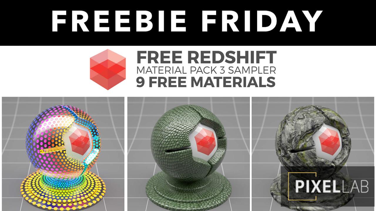 Freebie: Redshift C4D Material Pack 3 Sampler - 9 Free