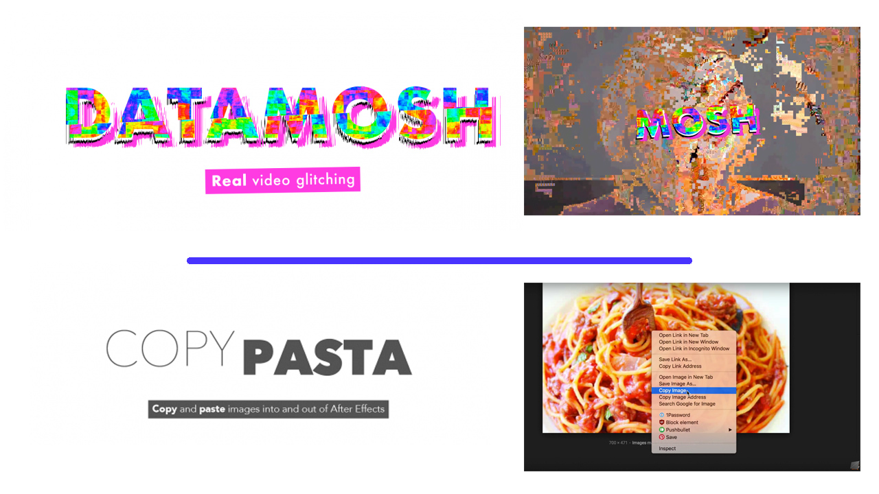 New: Plugin Play Datamosh and Copy Pasta for After Effects are Now Available