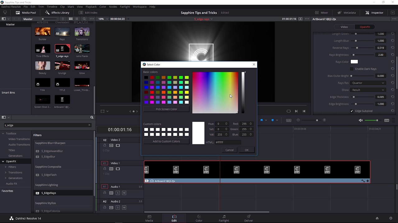 Create Beautiful Volumetric Lighting in Davinci Resolve with Sapphire EdgeRays