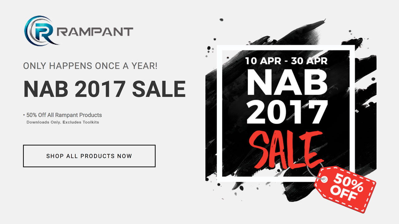 NAB Sale: Rampant Design Tools - 50% Off All Products - Now through April 30, 2017