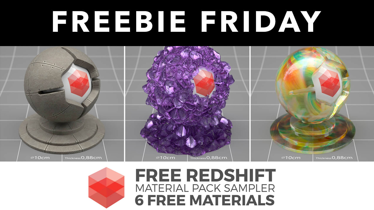 Freebie: Redshift C4D Material Pack Sampler: 6 Free Materials