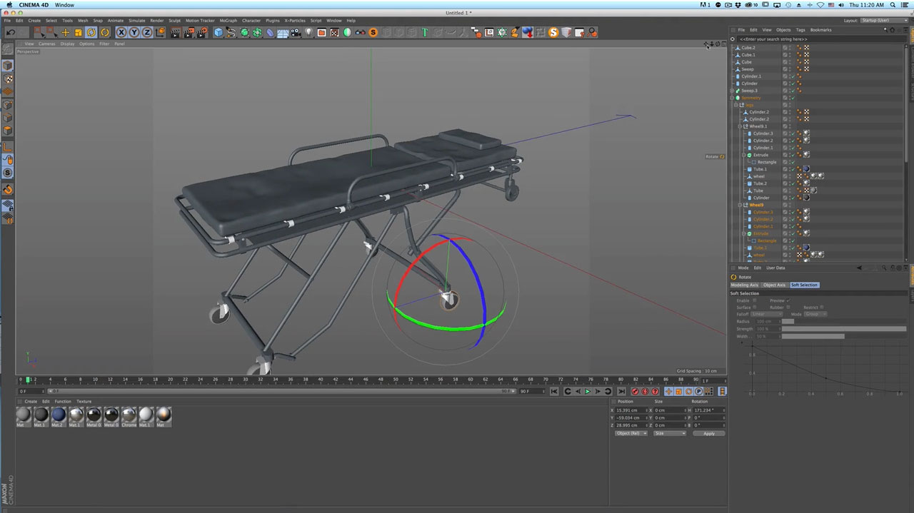 C4D Modeling Process Video: Hospital Stretcher