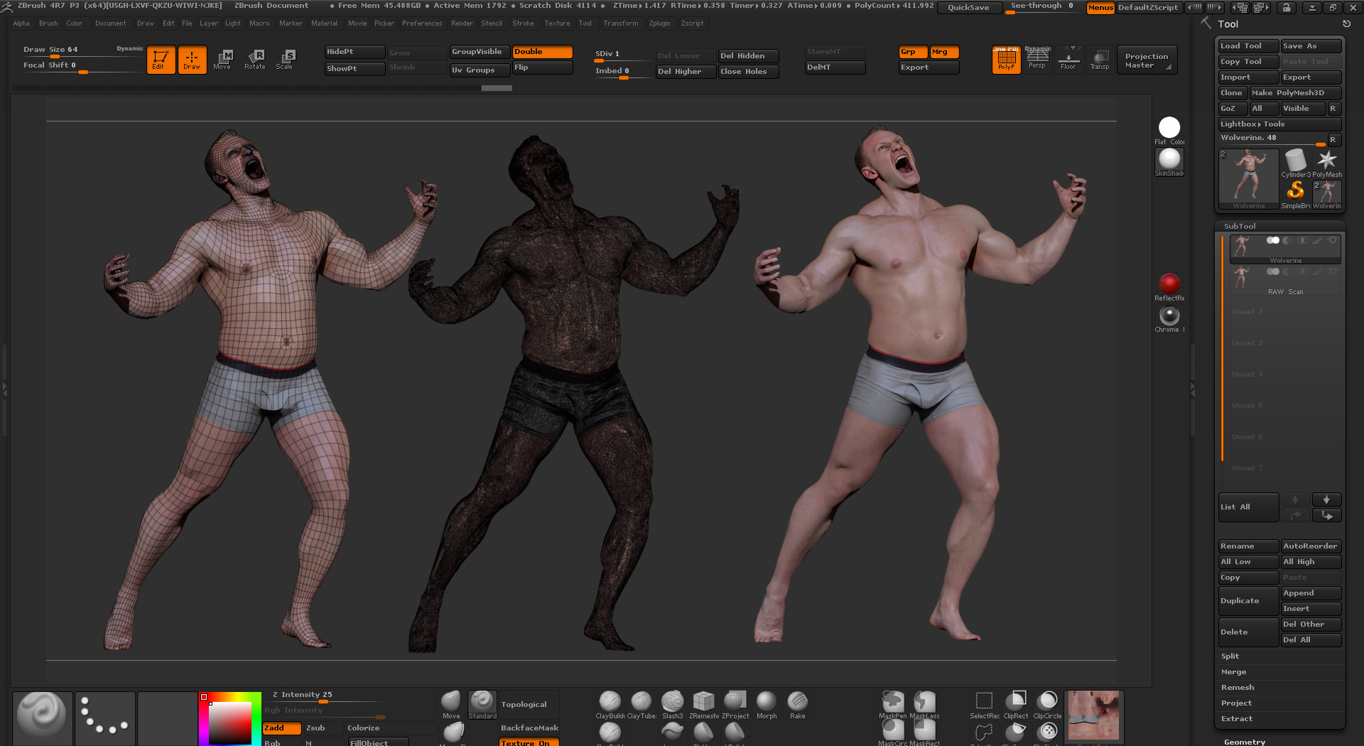Free 3D Scans of Male Figure from Ten24 with ZBrush, tutorial included