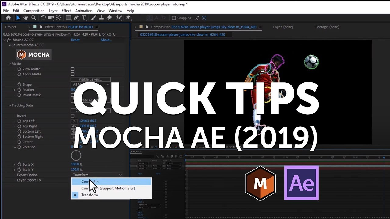 Mocha AE 2019 Export Workflow for Adobe After Effects