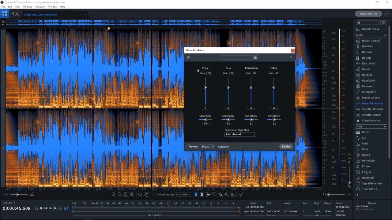 iZotope RX7 Music Rebalance Module