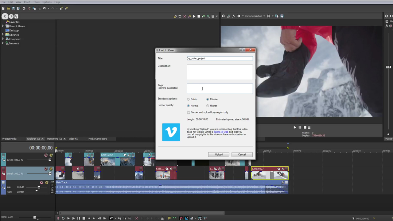 Tutorial: Vegas Pro: Publishing Your Project to Social Media