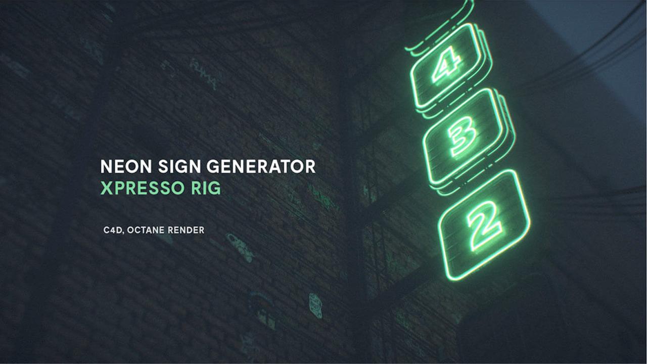 Freebie: Cinema 4D/Octane: Neon Sign Generator for Cinema 4D Octane