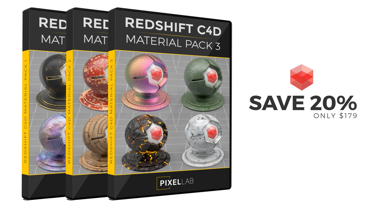 pixel lab redshift c4d material bundle