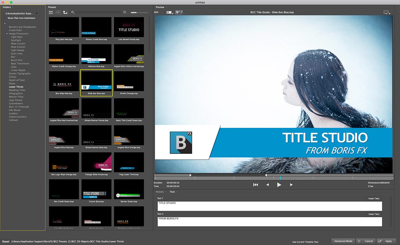 Boris Continuum Title Studio - Toolfarm