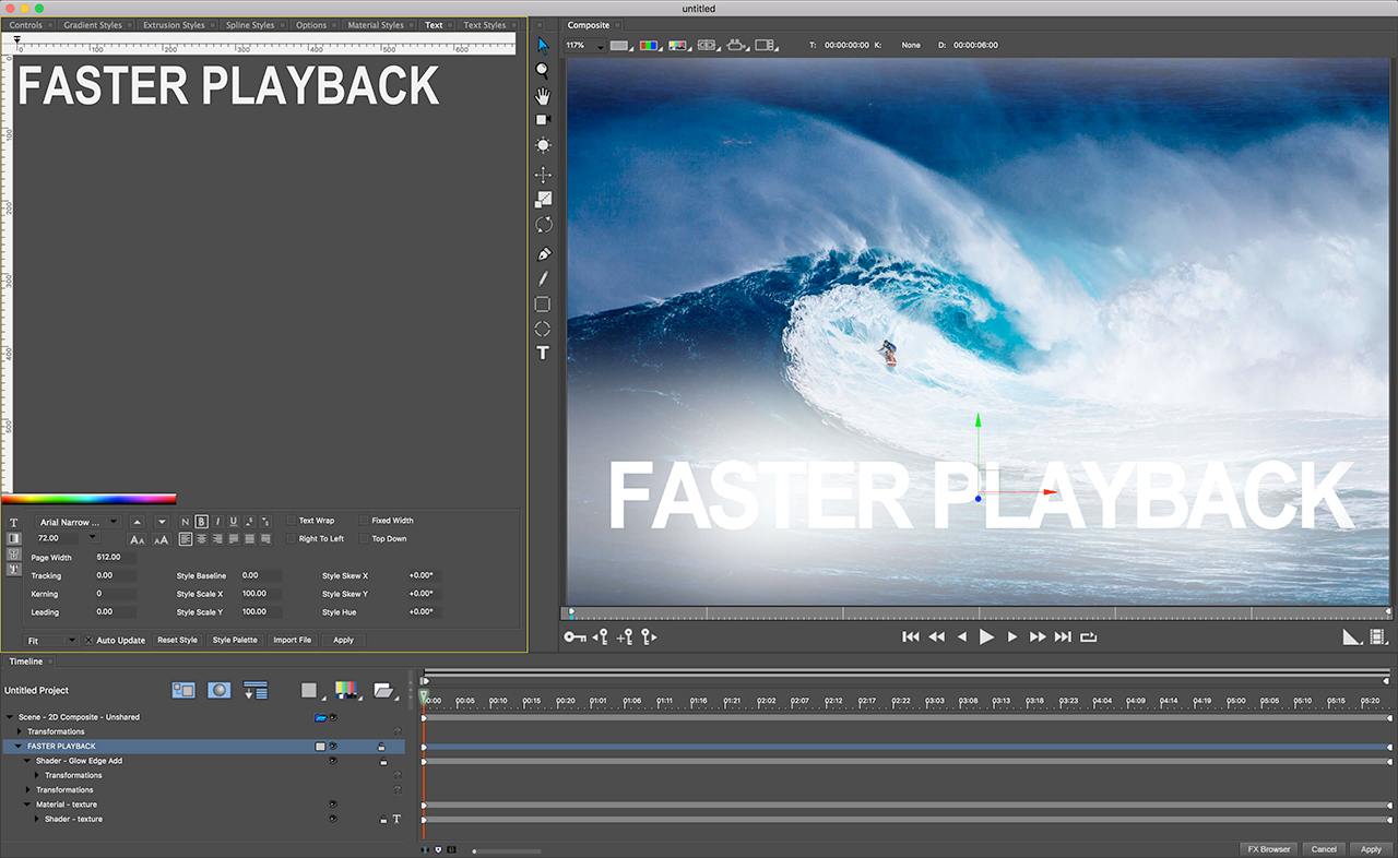 boris fx titler studio faster playback