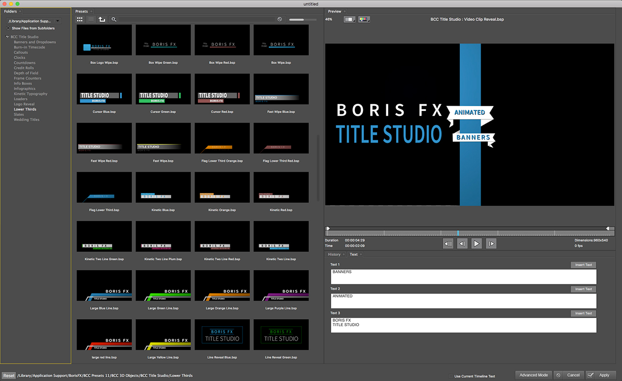 boris fx title studio preset templates