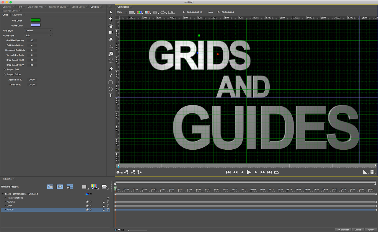 boris fx titler studio  grids and guidelines