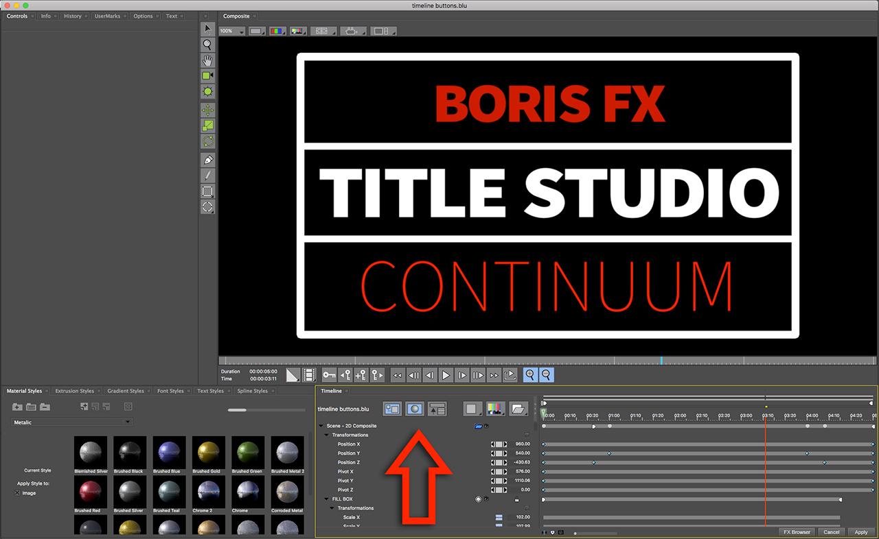 boris fx title studio timeline buttons