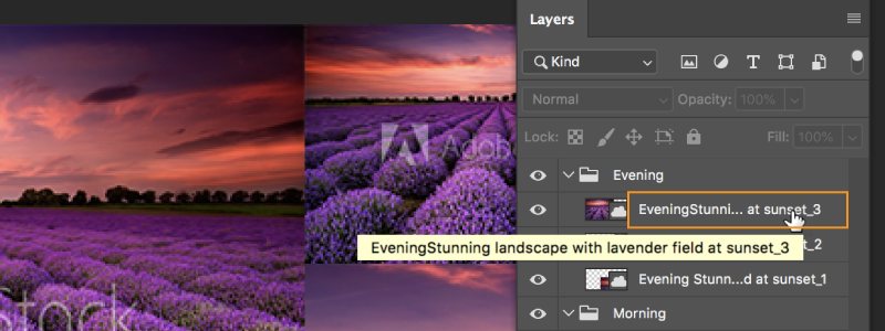 Photoshop now puts ellipses (...) in the middle of long layer names.