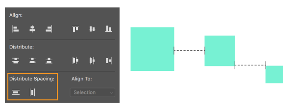 (Left) Distribute Spacing options in Photoshop. (Right) Spacing distributed horizontally between objects.