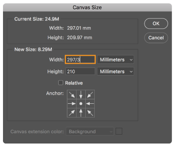 Image showing simple math in the Canvas Size dialog.